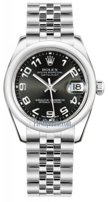 Rolex Datejust 31mm Stainless Steel 178240 Black Concentric Arabic Jubilee