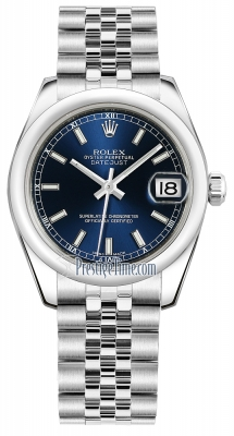 Rolex Datejust 31mm Stainless Steel 178240 Blue Index Jubilee