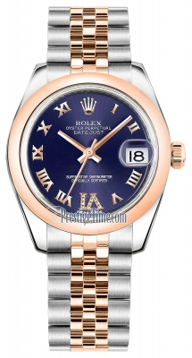 Rolex Datejust 31mm Stainless Steel and Rose Gold 178241 Purple VI Roman Jubilee