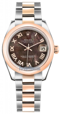 Rolex Datejust 31mm Stainless Steel and Rose Gold 178241 Black MOP Roman Oyster