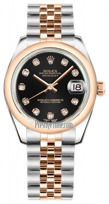 Rolex Datejust 31mm Stainless Steel and Rose Gold 178241 Black Diamond Jubilee
