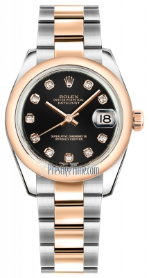 Rolex Datejust 31mm Stainless Steel and Rose Gold 178241 Black Diamond Oyster