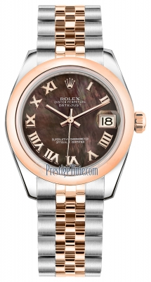 Rolex Datejust 31mm Stainless Steel and Rose Gold 178241 Black MOP Roman Jubilee