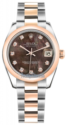 Rolex Datejust 31mm Stainless Steel and Rose Gold 178241 Black MOP Diamond Oyster