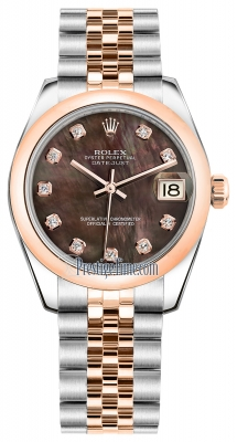 Rolex Datejust 31mm Stainless Steel and Rose Gold 178241 Black MOP Diamond Jubilee