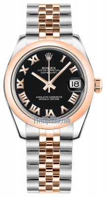 Rolex Datejust 31mm Stainless Steel and Rose Gold 178241 Black Roman Jubilee