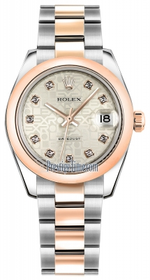Rolex Datejust 31mm Stainless Steel and Rose Gold 178241 Jubilee Silver Diamond Oyster