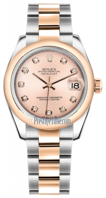 Rolex Datejust 31mm Stainless Steel and Rose Gold 178241 Pink Diamond Oyster