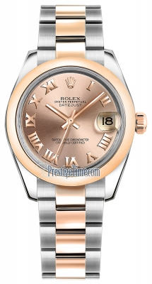 Rolex Datejust 31mm Stainless Steel and Rose Gold 178241 Pink Roman Oyster