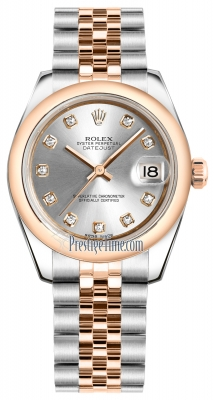 Rolex Datejust 31mm Stainless Steel and Rose Gold 178241 Silver Diamond Jubilee