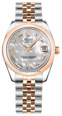 Rolex Datejust 31mm Stainless Steel and Rose Gold 178241 White MOP Roman Jubilee
