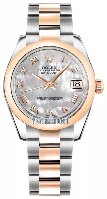 Rolex Datejust 31mm Stainless Steel and Rose Gold 178241 White MOP Roman Oyster