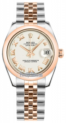 Rolex Datejust 31mm Stainless Steel and Rose Gold 178241 White Roman Jubilee
