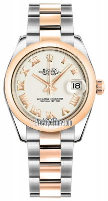 Rolex Datejust 31mm Stainless Steel and Rose Gold 178241 White Roman Oyster
