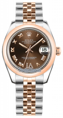 Rolex Datejust 31mm Stainless Steel and Rose Gold 178241 Chocolate VI Roman Jubilee
