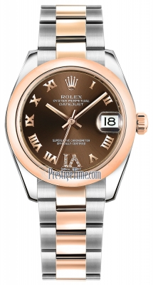 Rolex Datejust 31mm Stainless Steel and Rose Gold 178241 Chocolate VI Roman Oyster
