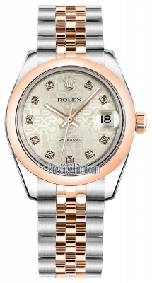 Rolex Datejust 31mm Stainless Steel and Rose Gold 178241 Jubilee Silver Diamond Jubilee