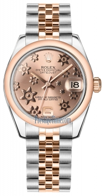 Rolex Datejust 31mm Stainless Steel and Rose Gold 178241 Pink Floral Jubilee