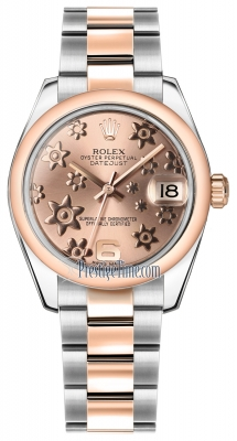 Rolex Datejust 31mm Stainless Steel and Rose Gold 178241 Pink Floral Oyster