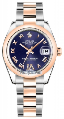Rolex Datejust 31mm Stainless Steel and Rose Gold 178241 Purple VI Roman Oyster
