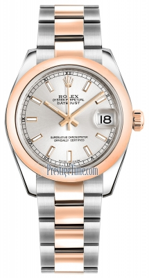 Rolex Datejust 31mm Stainless Steel and Rose Gold 178241 Silver Index Oyster