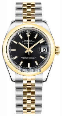 Rolex Datejust 31mm Stainless Steel and Yellow Gold 178243 Black Index Jubilee
