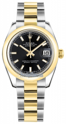 Rolex Datejust 31mm Stainless Steel and Yellow Gold 178243 Black Index Oyster