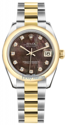 Rolex Datejust 31mm Stainless Steel and Yellow Gold 178243 Black MOP Diamond Oyster