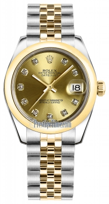 Rolex Datejust 31mm Stainless Steel and Yellow Gold 178243 Champagne Diamond Jubilee