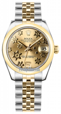 Rolex Datejust 31mm Stainless Steel and Yellow Gold 178243 Champagne Floral Jubilee