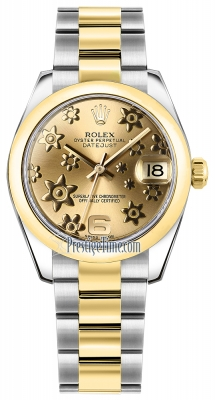 Rolex Datejust 31mm Stainless Steel and Yellow Gold 178243 Champagne Floral Oyster