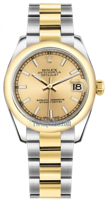 Rolex Datejust 31mm Stainless Steel and Yellow Gold 178243 Champagne Index Oyster