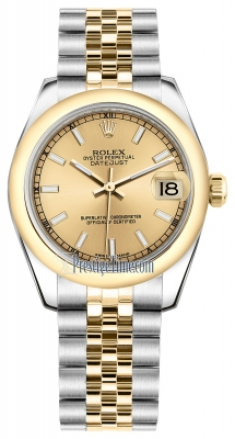 Rolex Datejust 31mm Stainless Steel and Yellow Gold 178243 Champagne Index Jubilee