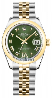 Rolex Datejust 31mm Stainless Steel and Yellow Gold 178243 Olive Green VI Roman Jubilee