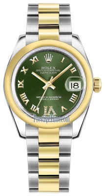 Rolex Datejust 31mm Stainless Steel and Yellow Gold 178243 Olive Green VI Roman Oyster