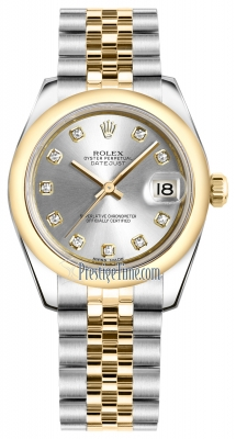 Rolex Datejust 31mm Stainless Steel and Yellow Gold 178243 Silver Diamond Jubilee