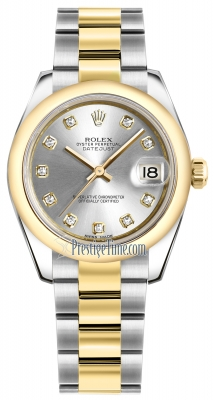 Rolex Datejust 31mm Stainless Steel and Yellow Gold 178243 Silver Diamond Oyster