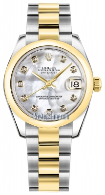 Rolex Datejust 31mm Stainless Steel and Yellow Gold 178243 White MOP Diamond Oyster