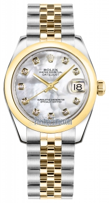 Rolex Datejust 31mm Stainless Steel and Yellow Gold 178243 White MOP Diamond Jubilee