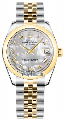 Rolex Datejust 31mm Stainless Steel and Yellow Gold 178243 White MOP Roman Jubilee