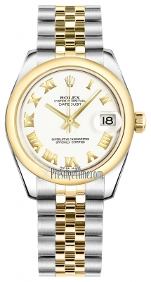 Rolex Datejust 31mm Stainless Steel and Yellow Gold 178243 White Roman Jubilee