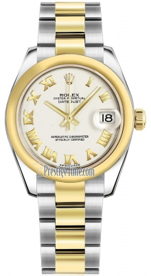 Rolex Datejust 31mm Stainless Steel and Yellow Gold 178243 White Roman Oyster