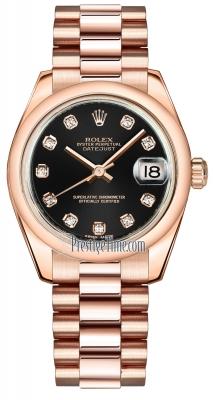 Rolex Datejust 31mm Everose Gold 178245 Black Diamond President