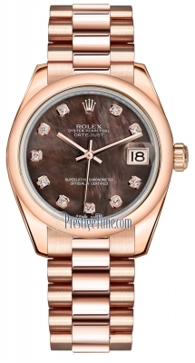 Rolex Datejust 31mm Everose Gold 178245 Black MOP Diamond President