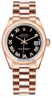 Rolex Datejust 31mm Everose Gold 178245 Black Roman President