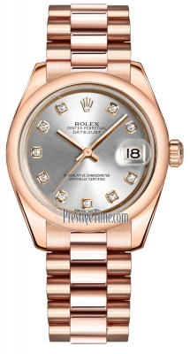 Rolex Datejust 31mm Everose Gold 178245 Silver Diamond President