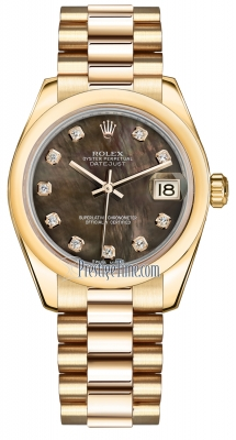 Rolex Datejust 31mm Yellow Gold 178248 Black MOP Diamond President