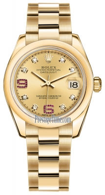 Rolex Datejust 31mm Yellow Gold 178248 Champagne 8 Diamond 32 Ruby Oyster