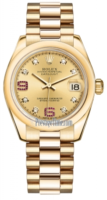 Rolex Datejust 31mm Yellow Gold 178248 Champagne 8 Diamond 32 Ruby President