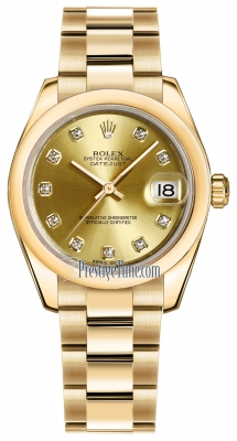 Rolex Datejust 31mm Yellow Gold 178248 Champagne Diamond Oyster